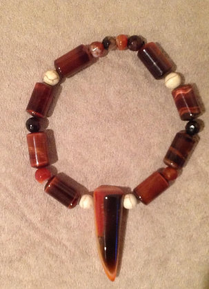 Red Tigers Eye with Agate Tooth