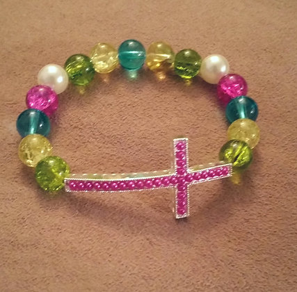 Multicolored Cross Bracelet