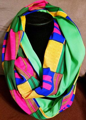 Green, Blue & Pink Ankara Infinity Scarf