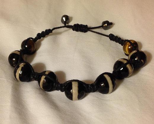 Agate and Tigers Eye Shamballa Bracelet
