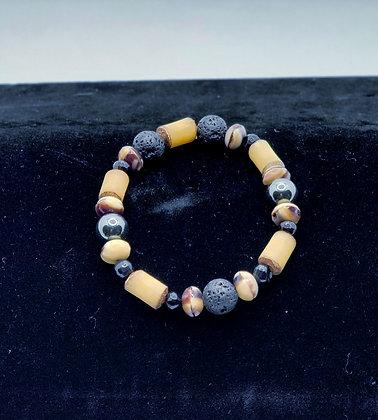 Hematite, Bamboo and Lava Bead Bracelet
