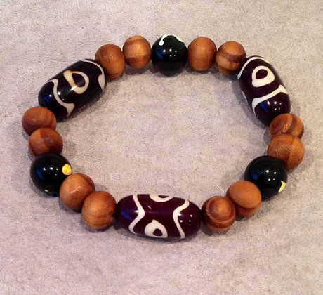 Wood and Mud Cloth Bracelet