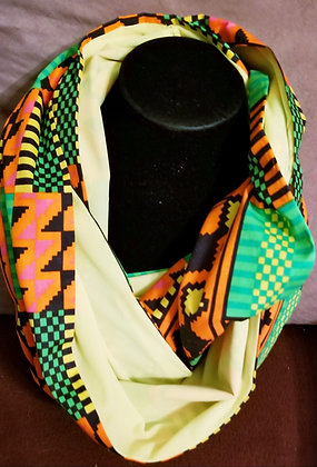 Yellow, Green & Orange Kente Infinity Scarf