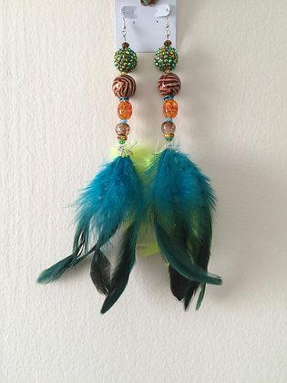 Neon Yellow & Turquoise Chandelier Feather Earring