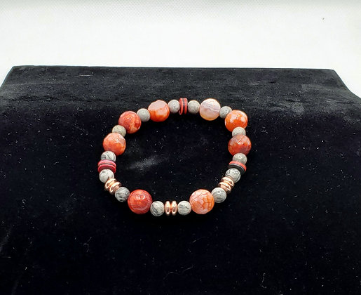 Red Agate and Stone Bracelet
