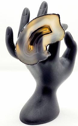 Black Half Moon Agate Ring