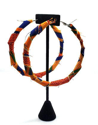Blue and Yellow Ankara Hoop Earrings