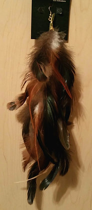 Golden Brown and Green Native Feather Earring