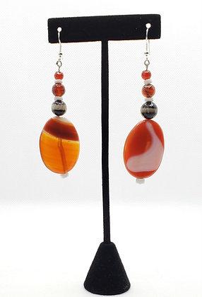 Orange Red Teardrop Earrings