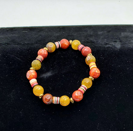 Red Hot Agate and Vinyl Bracelet