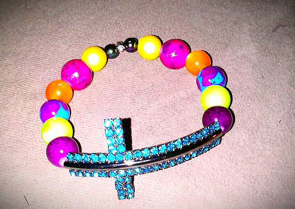 Bubble Gum Cross Bracelet