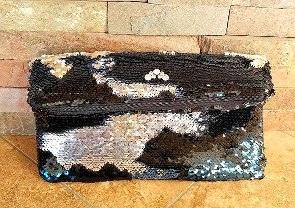 Black & Silver Sequin Clutch