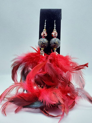 Fire Engine Red Two Tier Chandelier Feather Earring