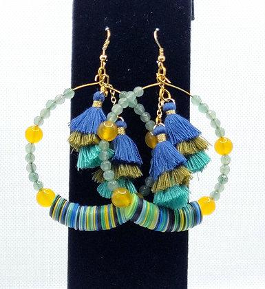 Blue & Yellow Tassle Hoop Earrings