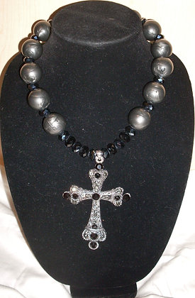 Black and Gun Metal Cross Necklace
