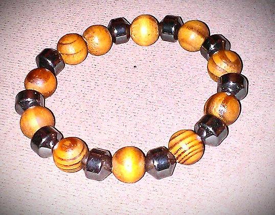Wood and Hematite Bracelet