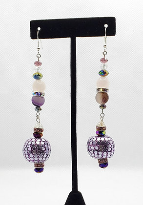 Purple Disco Teardrop Earrings