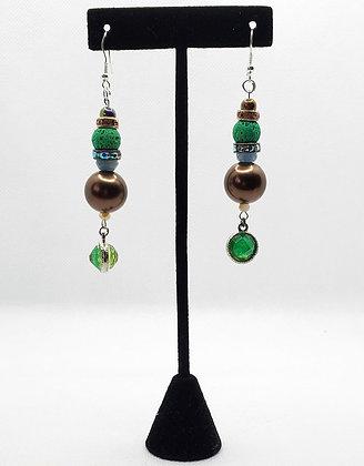 Brown, Blue & Green Teardrop Earrings