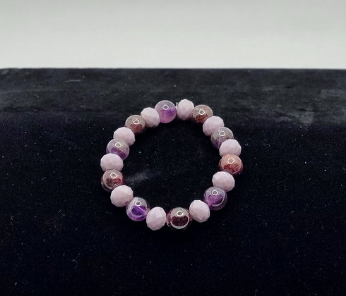 Purple Agate and Czech Glass Bracelet