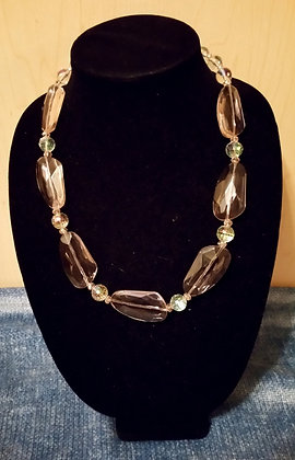 Pink and White Lucite Necklace
