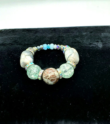 Sea Green and Brown Bracelet