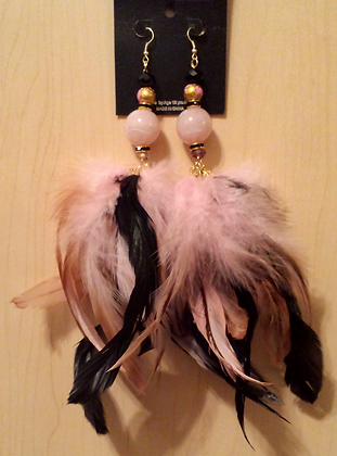 Pink and Black Chandlier Feather Earrings