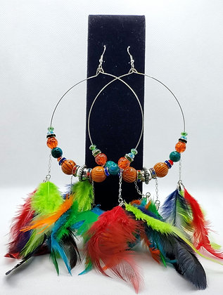 Red, Green & Navy Blue Pocahontas Feather Earrings