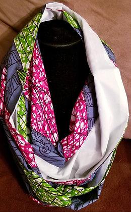 Grey, White, Pink & Green Ankara Infinity Scarf