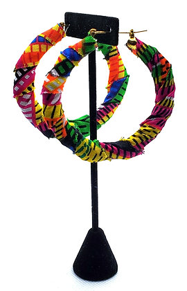 Multicolored Ankara Bamboo Hoop Earrings