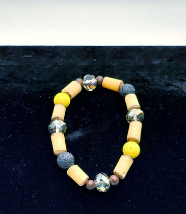 Bamboo and Lava Bead Bracelet