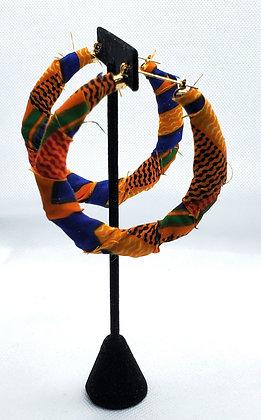 Yellow and Blue Ankara Bamboo Hoop Earrings
