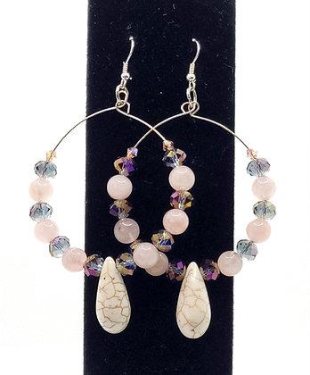 Pink Agate Hoop Earrings