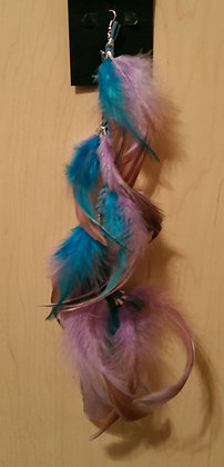 Turquoise and Lavender Native Feather Earring