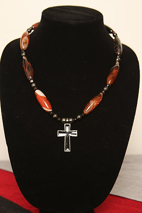 Red and Black Agate Cross Necklace