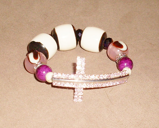Pink Wooden Cross Bracelet