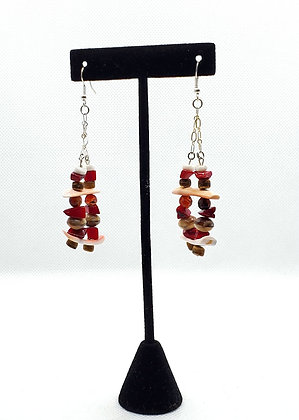 Red and White Stacked Jinga Earrings
