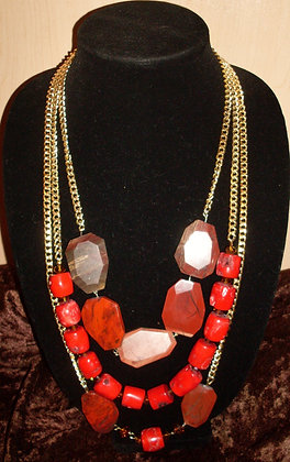 Red Turquoise and Marble Stone Necklace