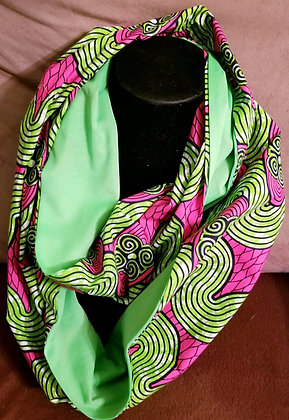 Pink & Green Ankara Infinity Scarf