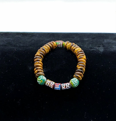 Tiger's Eye and African Bead Bracelet