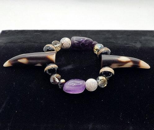 Amethyst and Agate Spike Bracelet