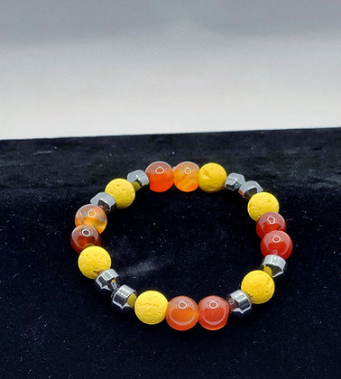 Red Agate, Yellow Lava Bead and Hematite Bracelet