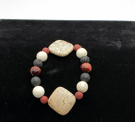 White Turquoise and Red Tigers Eye Bracelet