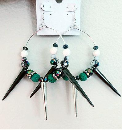 Green & Silver Spike Hoop Earrings