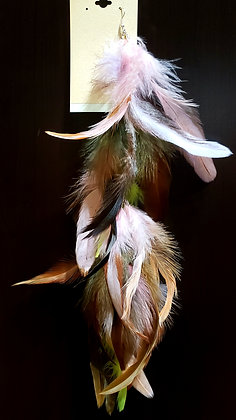 Light Pink & Olive Green Native Feather Earring