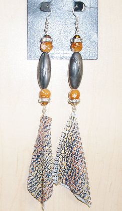 Gun Metal and Orange Teardrop Mesh Earrings
