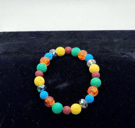 Multicolored Lava Bead Bracelet