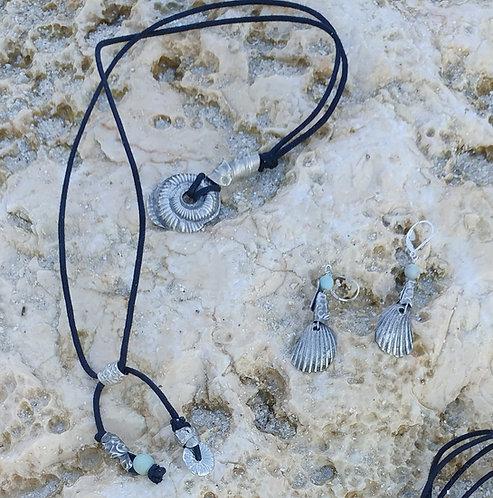 SET Pure Silver Cast Nautilus Necklace& Earrings