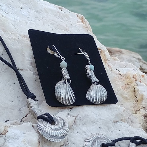 Pure Silver Seashell Earrings Hand Cast