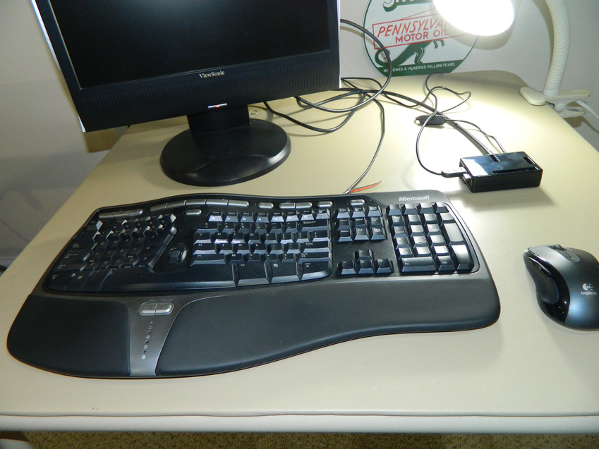 The Pi connected to a spare monitor, keyboard and mouse