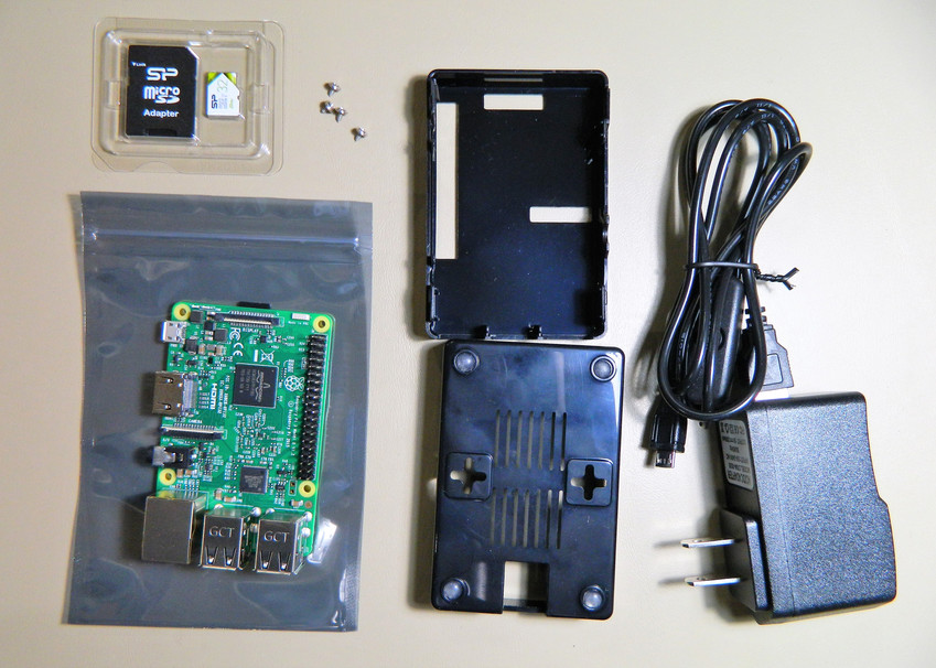 My Raspberry Pi with board, case, power supply and SD memory card